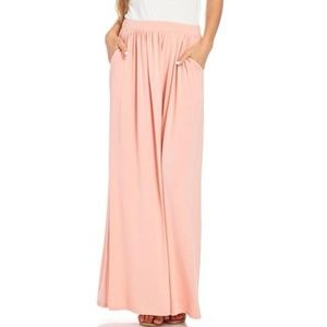 Long Maxi Coral Skirt with pockets
